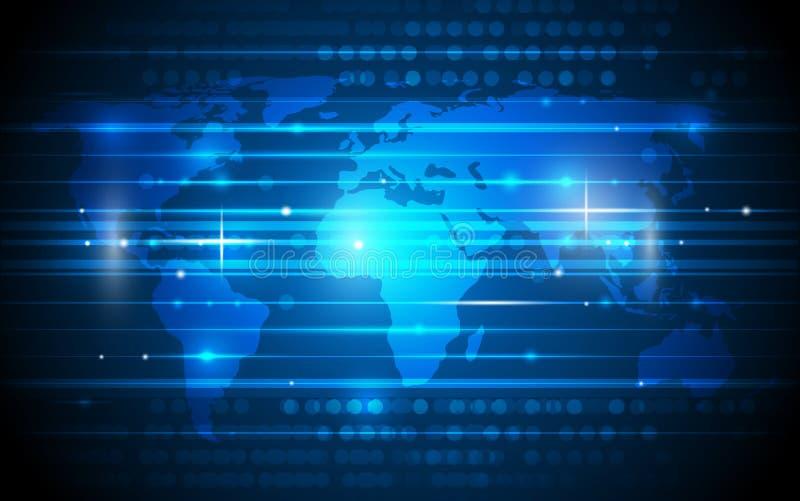 Μελλοντική ψηφιακή τεχνολογία με τον παγκόσμιο χάρτη ελεύθερη απεικόνιση δικαιώματος