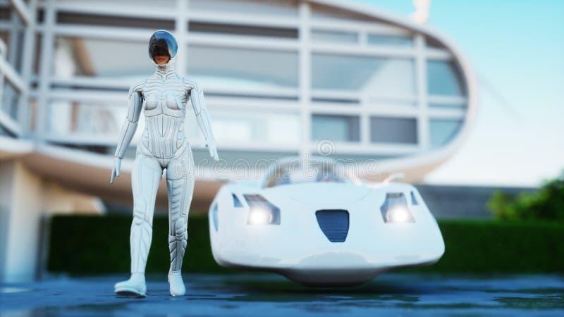 μελλοντικό σπίτι Φουτουριστικό πετώντας αυτοκίνητο με την περπατώντας γυναίκα τρισδιάστατη απόδοση απεικόνιση αποθεμάτων