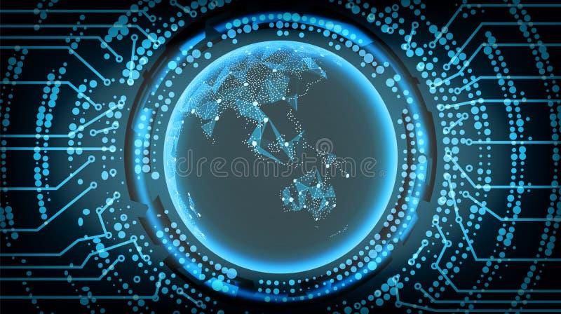 Μελλοντικό υπόβαθρο έννοιας Cyber τεχνολογίας Αυστραλία και Ωκεανία επίσης corel σύρετε το διάνυσμα απεικόνισης ελεύθερη απεικόνιση δικαιώματος