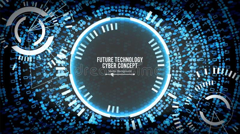 Μελλοντικό υπόβαθρο έννοιας Cyber τεχνολογίας Αφηρημένος κυβερνοχώρος ασφάλειας Τα ηλεκτρονικά στοιχεία συνδέουν σφαιρικό σύστημα ελεύθερη απεικόνιση δικαιώματος