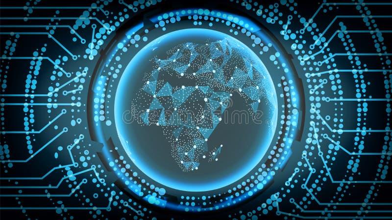 Μελλοντικό υπόβαθρο έννοιας Cyber τεχνολογίας Αφρική επίσης corel σύρετε το διάνυσμα απεικόνισης ελεύθερη απεικόνιση δικαιώματος
