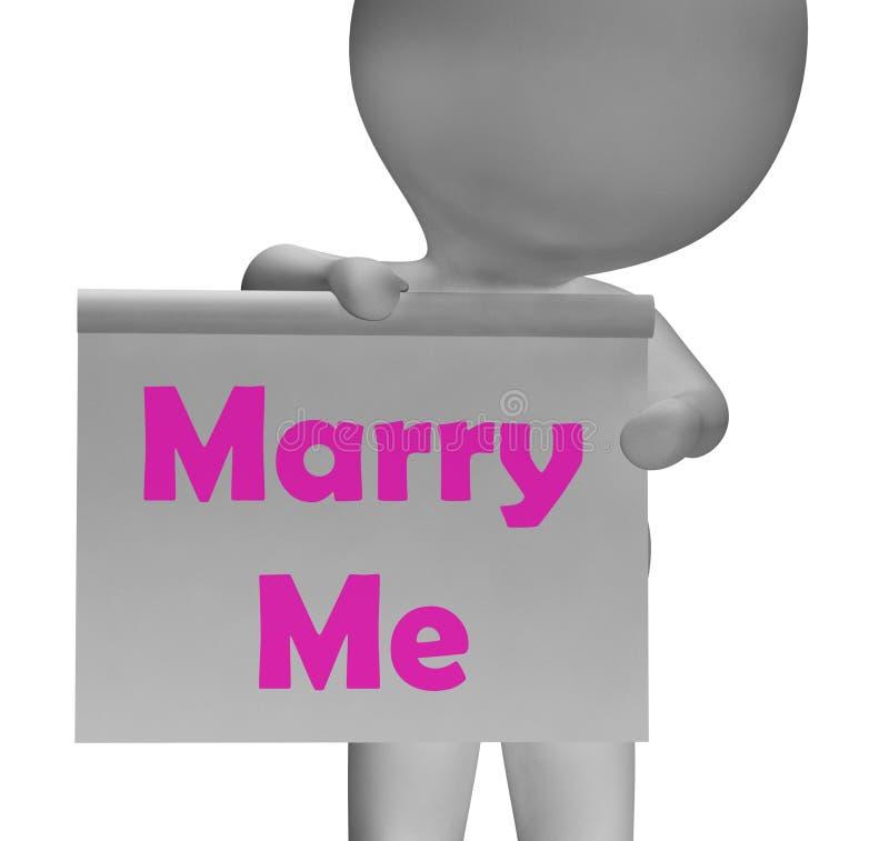 Με παντρεψτε σημάδι παρουσιάζει την πρόταση και δέσμευση γάμου ελεύθερη απεικόνιση δικαιώματος