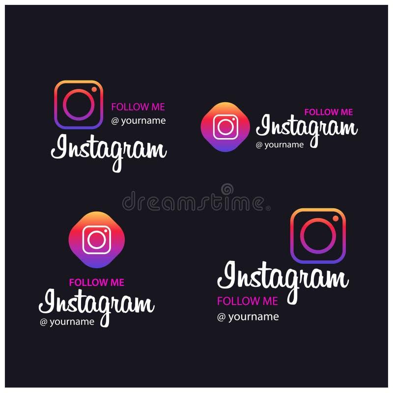 Με συνεχίστε τα εμβλήματα Instagram διανυσματική απεικόνιση
