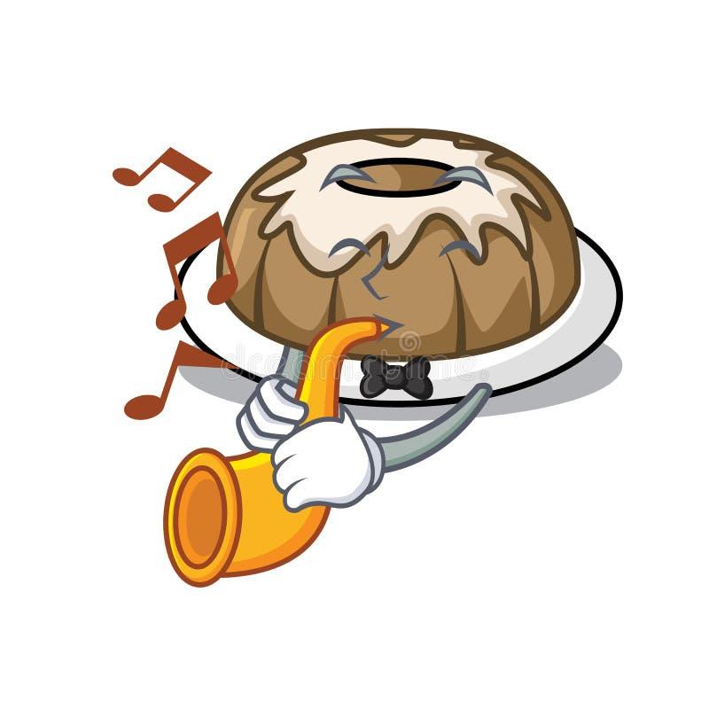 Με τα κινούμενα σχέδια μασκότ κέικ σαλπίγγων bundt διανυσματική απεικόνιση