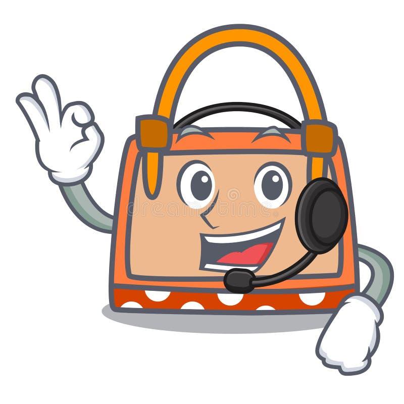 Με τα κινούμενα σχέδια μασκότ τσαντών ακουστικών διανυσματική απεικόνιση