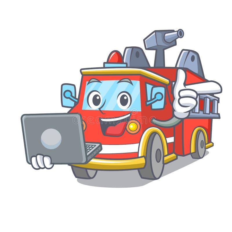 Με τα κινούμενα σχέδια χαρακτήρα πυροσβεστικών οχημάτων lap-top διανυσματική απεικόνιση