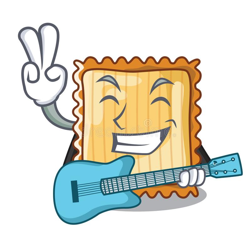 Με την κιθάρα lasagne είναι μαγειρευμένος στο φούρνο μασκότ διανυσματική απεικόνιση