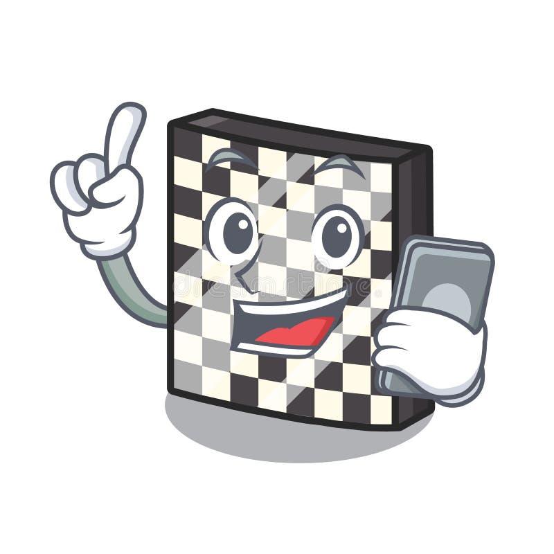 Με την τηλεφωνική σκακιέρα με σε μια μασκότ διανυσματική απεικόνιση
