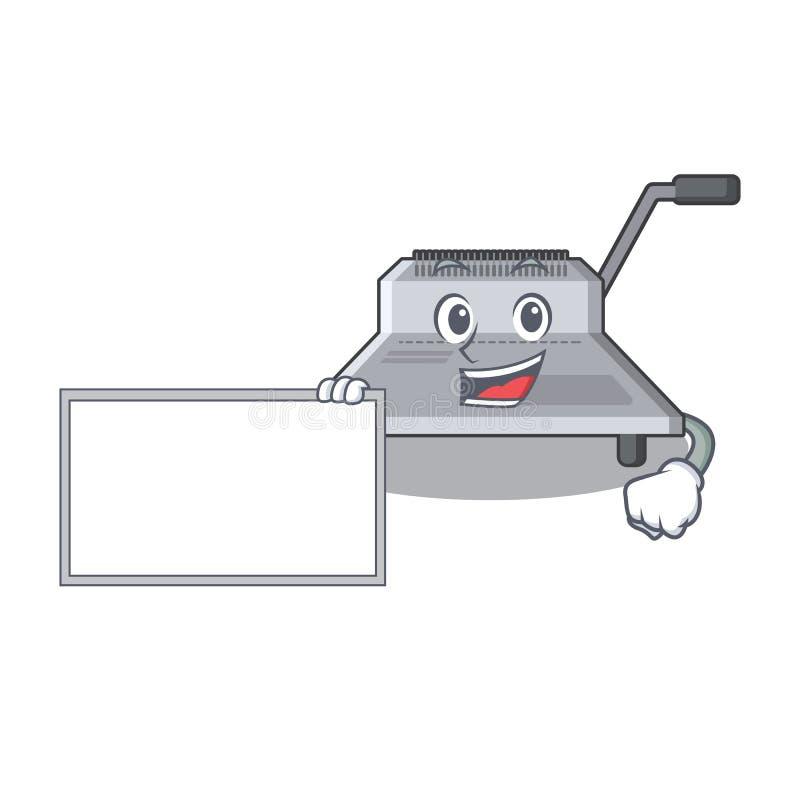 Με τη δεσμευτική μηχανή πινάκων που απομονώνεται στη μασκότ ελεύθερη απεικόνιση δικαιώματος
