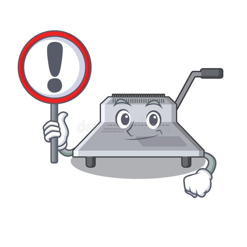 Με τη δεσμευτική μηχανή σημαδιών που απομονώνεται στη μασκότ απεικόνιση αποθεμάτων