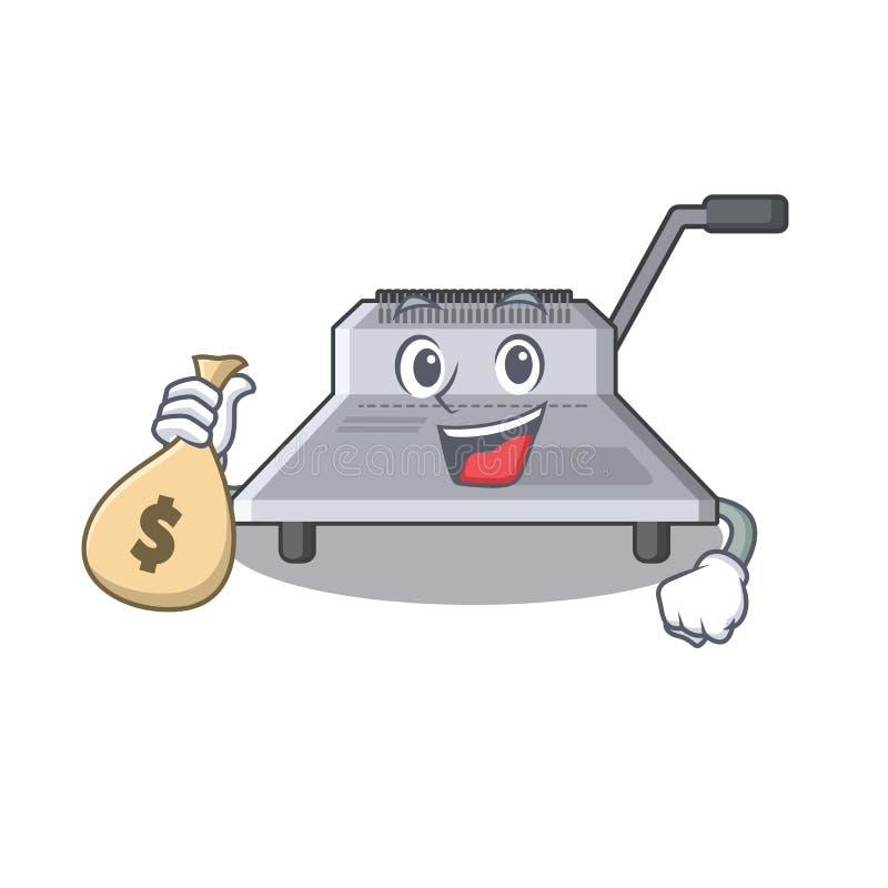 Με τη δεσμευτική μηχανή τσαντών χρημάτων που απομονώνεται στη μασκότ απεικόνιση αποθεμάτων