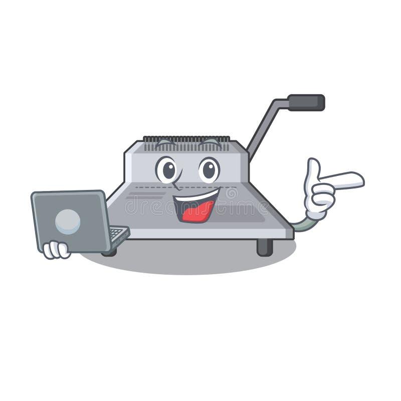 Με τη δεσμευτική μηχανή lap-top που απομονώνεται στη μασκότ ελεύθερη απεικόνιση δικαιώματος
