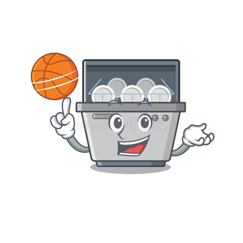 Με τη μηχανή πλυντηρίων πιάτων μασκότ καλαθοσφαίρισης στην κουζίνα απεικόνιση αποθεμάτων