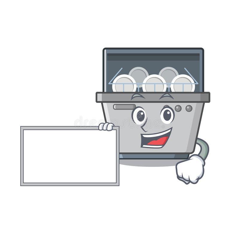 Με τη μηχανή πλυντηρίων πιάτων μασκότ πινάκων στην κουζίνα ελεύθερη απεικόνιση δικαιώματος