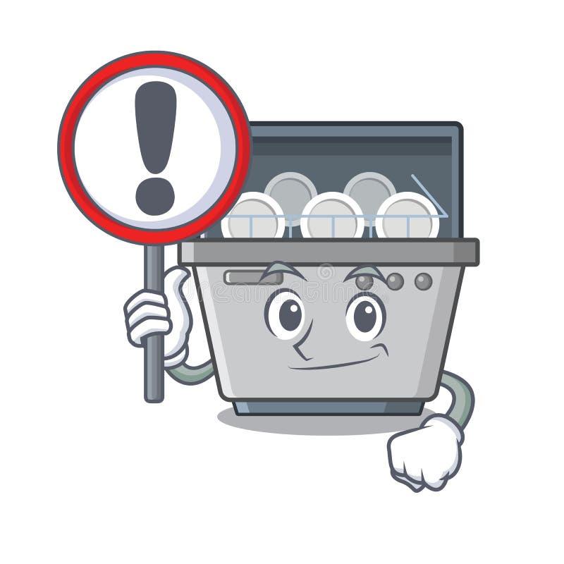 Με τη μηχανή πλυντηρίων πιάτων μασκότ σημαδιών στην κουζίνα ελεύθερη απεικόνιση δικαιώματος