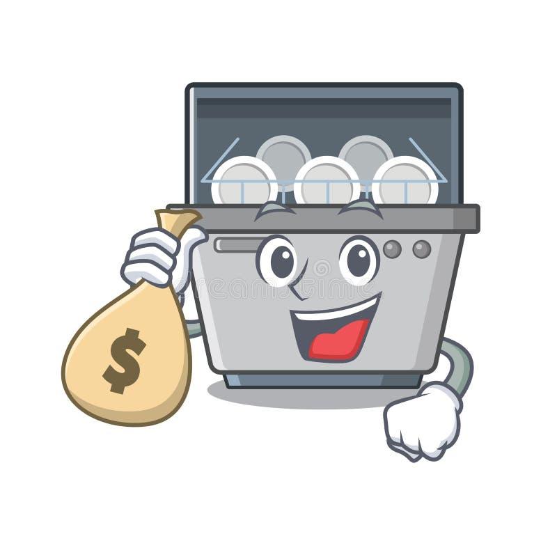 Με τη μηχανή πλυντηρίων πιάτων μασκότ τσαντών χρημάτων στην κουζίνα διανυσματική απεικόνιση
