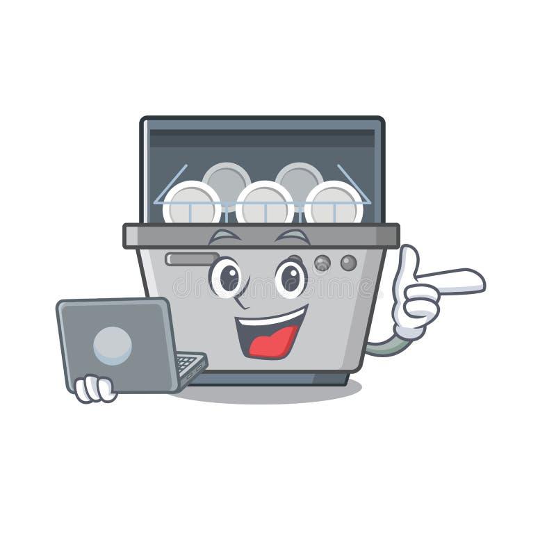 Με τη μηχανή πλυντηρίων πιάτων μασκότ lap-top στην κουζίνα διανυσματική απεικόνιση