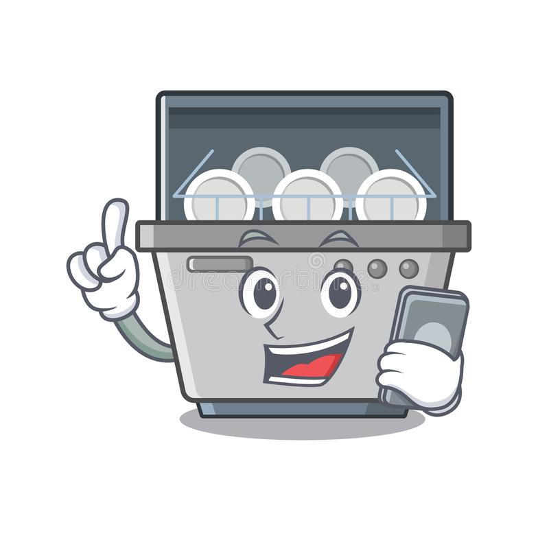 Με τη μηχανή πλυντηρίων πιάτων τηλεφωνικών μασκότ στην κουζίνα διανυσματική απεικόνιση