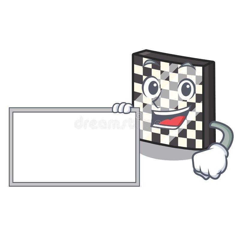 Με τη σκακιέρα πινάκων με σε μια μασκότ απεικόνιση αποθεμάτων