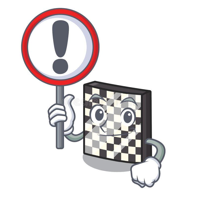 Με τη σκακιέρα σημαδιών με σε μια μασκότ ελεύθερη απεικόνιση δικαιώματος