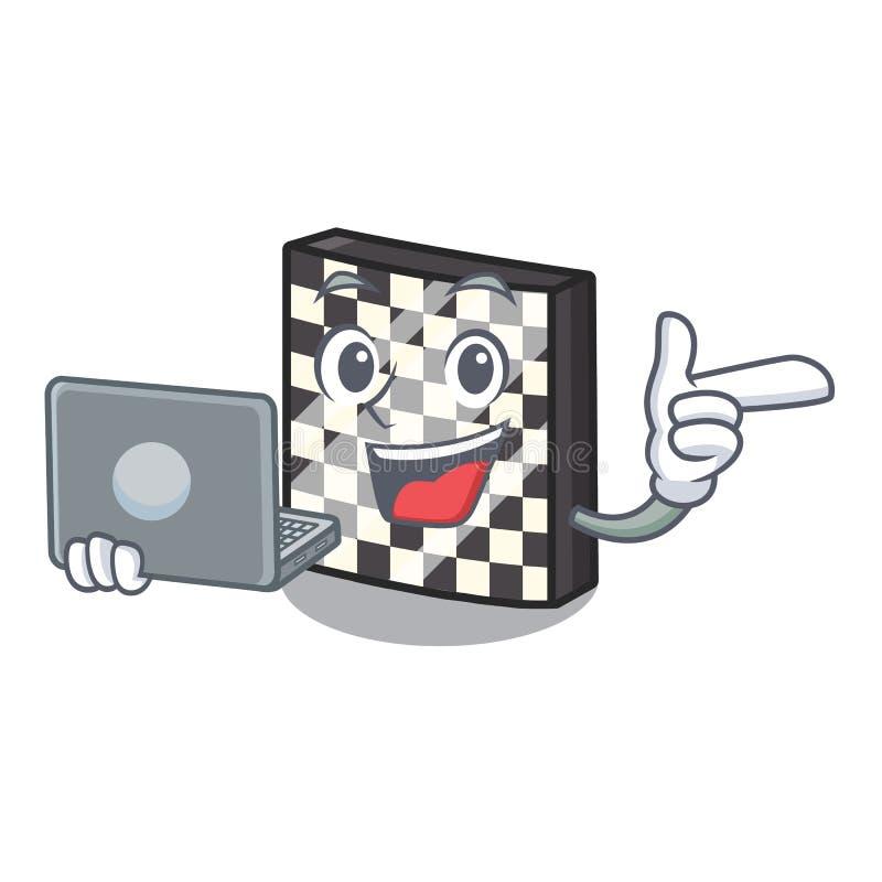 Με τη σκακιέρα lap-top με σε μια μασκότ διανυσματική απεικόνιση