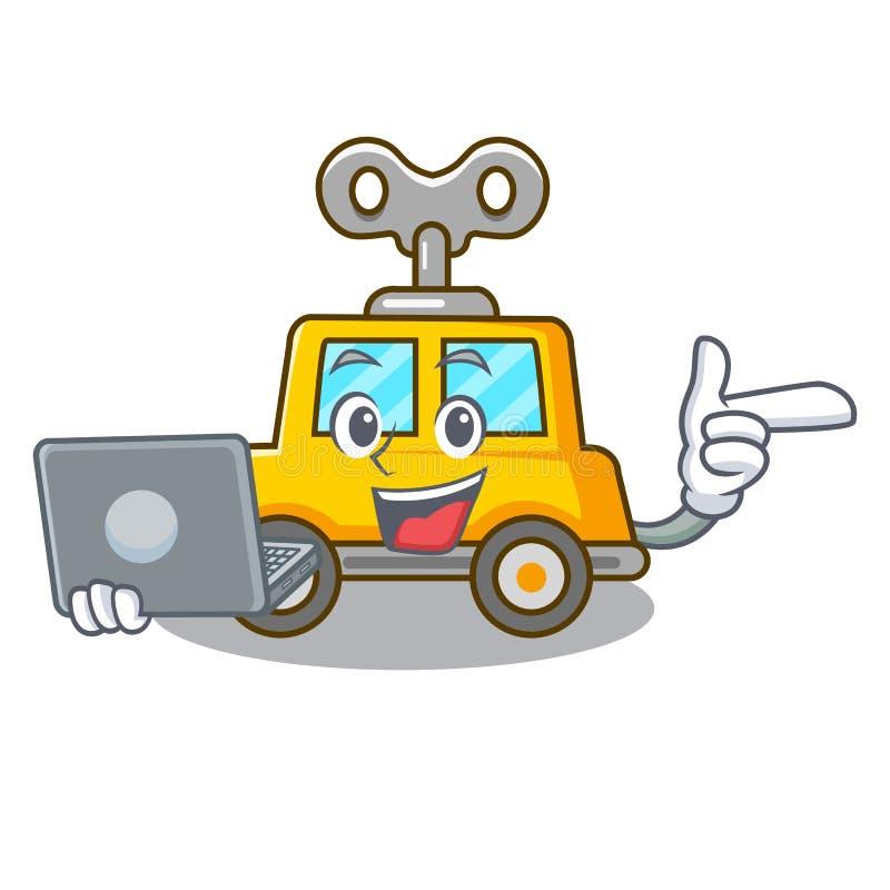Με το αυτοκίνητο μηχανισμού χαρακτήρα lap-top για τα παιδιά παιχνιδιών απεικόνιση αποθεμάτων