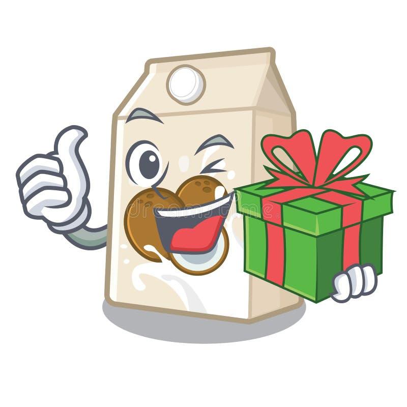Με το γάλα δώρων cococnut στη μορφή μασκότ απεικόνιση αποθεμάτων
