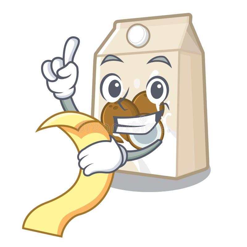Με το γάλα επιλογών cococnut στη μορφή μασκότ ελεύθερη απεικόνιση δικαιώματος