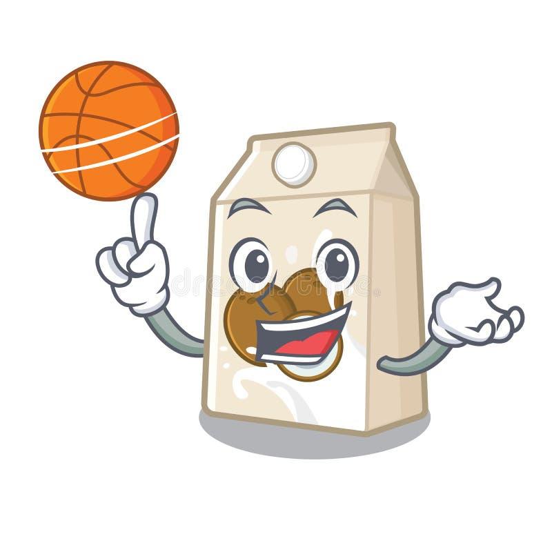 Με το γάλα καρύδων καλαθοσφαίρισης σε ένα μπουκάλι κινούμενων σχεδίων διανυσματική απεικόνιση