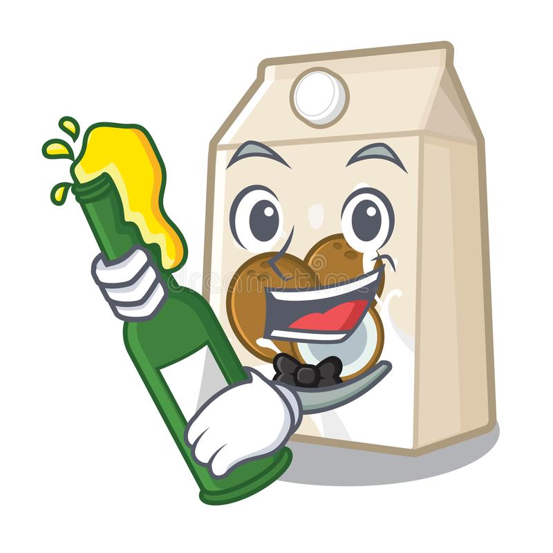 Με το γάλα καρύδων μπύρας που χύνεται στο γυαλί κινούμενων σχεδίων ελεύθερη απεικόνιση δικαιώματος