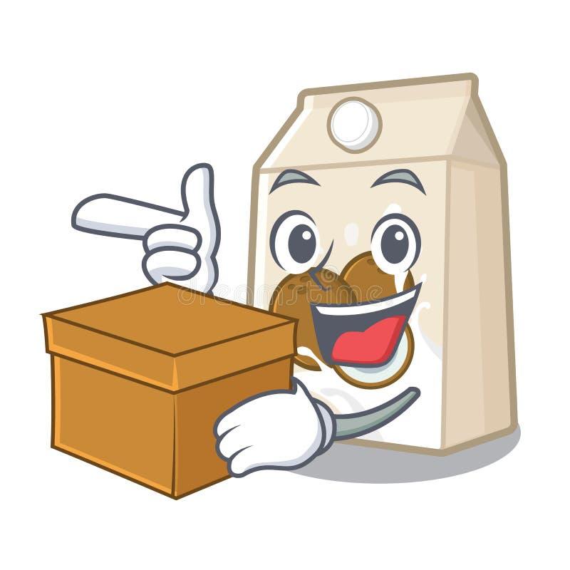 Με το γάλα καρύδων πεδίων που απομονώνεται με το χαρακτήρα ελεύθερη απεικόνιση δικαιώματος