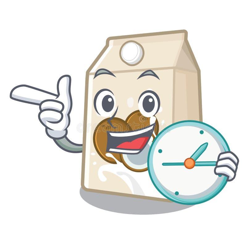Με το γάλα καρύδων ρολογιών που απομονώνεται με το χαρακτήρα ελεύθερη απεικόνιση δικαιώματος