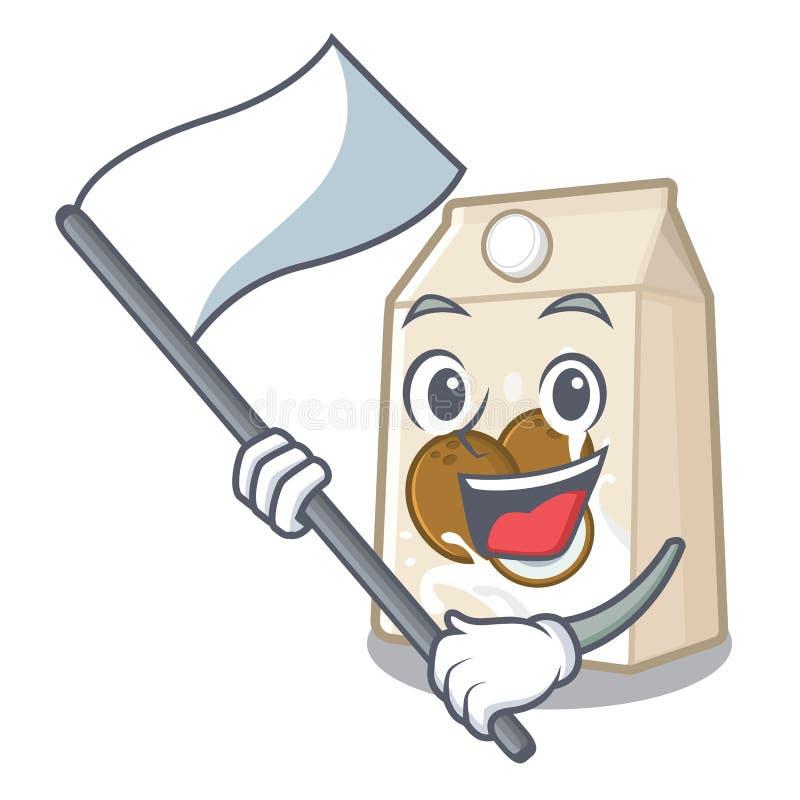 Με το γάλα καρύδων σημαιών που χύνεται στο γυαλί κινούμενων σχεδίων απεικόνιση αποθεμάτων