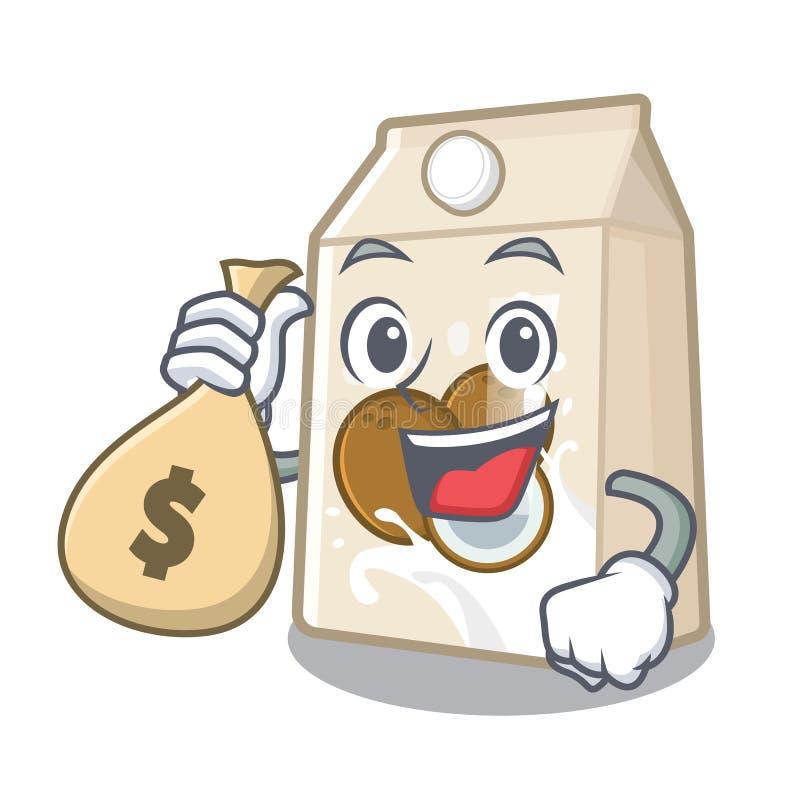 Με το γάλα καρύδων τσαντών χρημάτων σε ένα μπουκάλι κινούμενων σχεδίων διανυσματική απεικόνιση