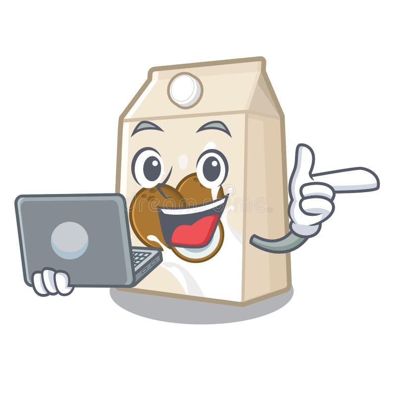 Με το γάλα καρύδων lap-top σε ένα μπουκάλι κινούμενων σχεδίων απεικόνιση αποθεμάτων