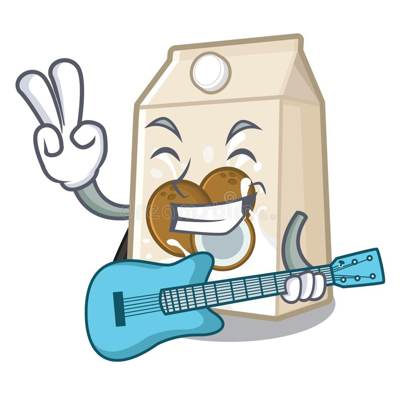Με το γάλα κιθάρων cococnut στη μορφή μασκότ απεικόνιση αποθεμάτων