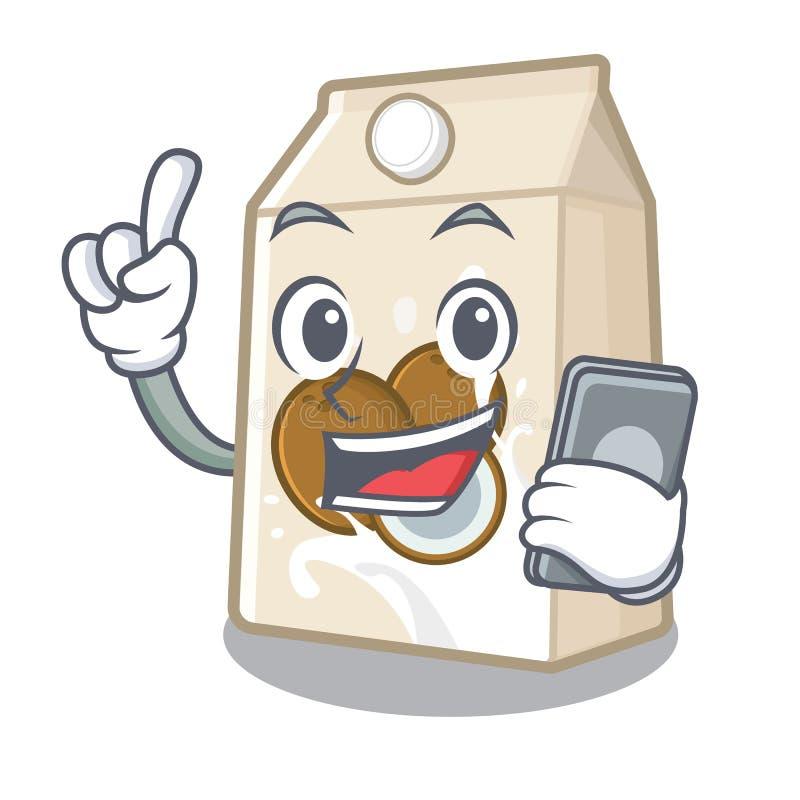 Με το γάλα τηλεφωνικών καρύδων σε ένα μπουκάλι κινούμενων σχεδίων απεικόνιση αποθεμάτων
