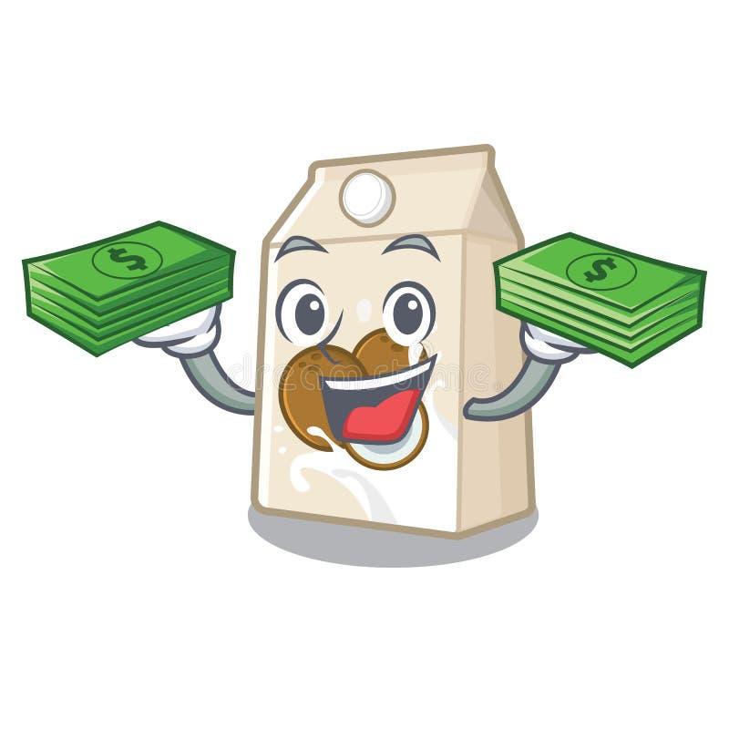 Με το γάλα τσαντών χρημάτων cococnut στη μορφή μασκότ απεικόνιση αποθεμάτων