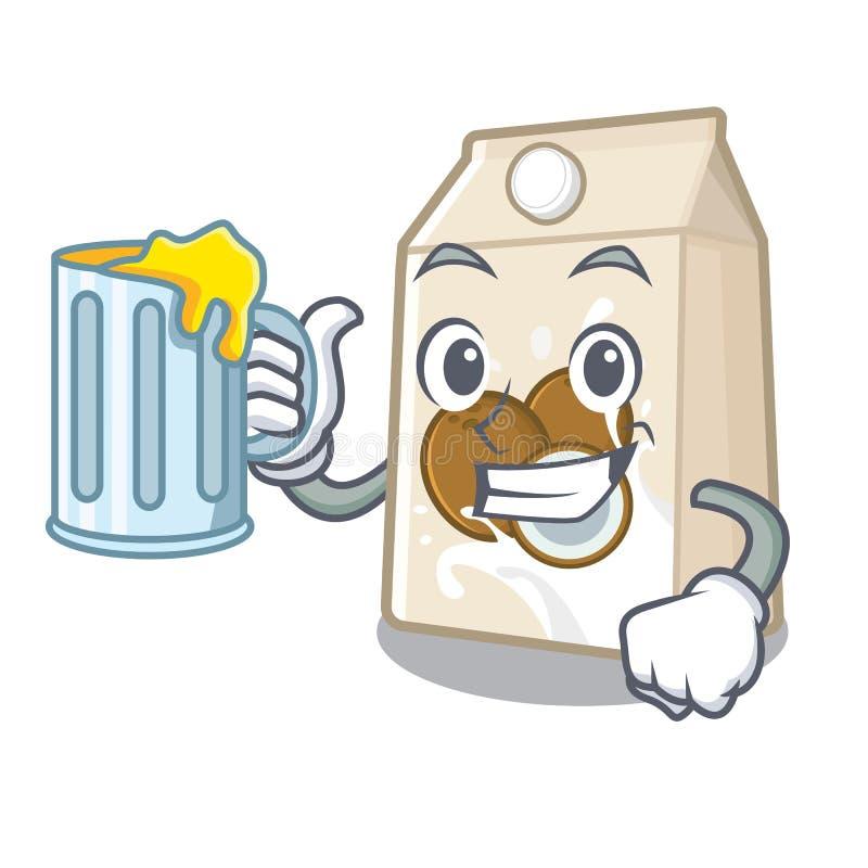 Με το γάλα χυμού cococnut στη μορφή μασκότ ελεύθερη απεικόνιση δικαιώματος