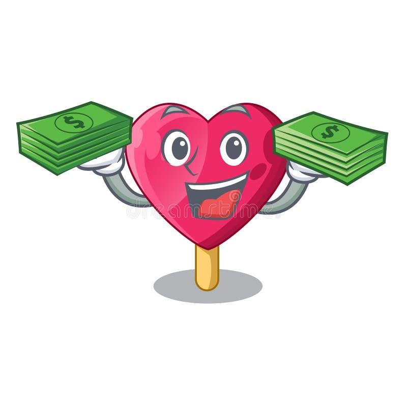Με το διαμορφωμένο καρδιά παγωτό χρημάτων τα κινούμενα σχέδια ελεύθερη απεικόνιση δικαιώματος
