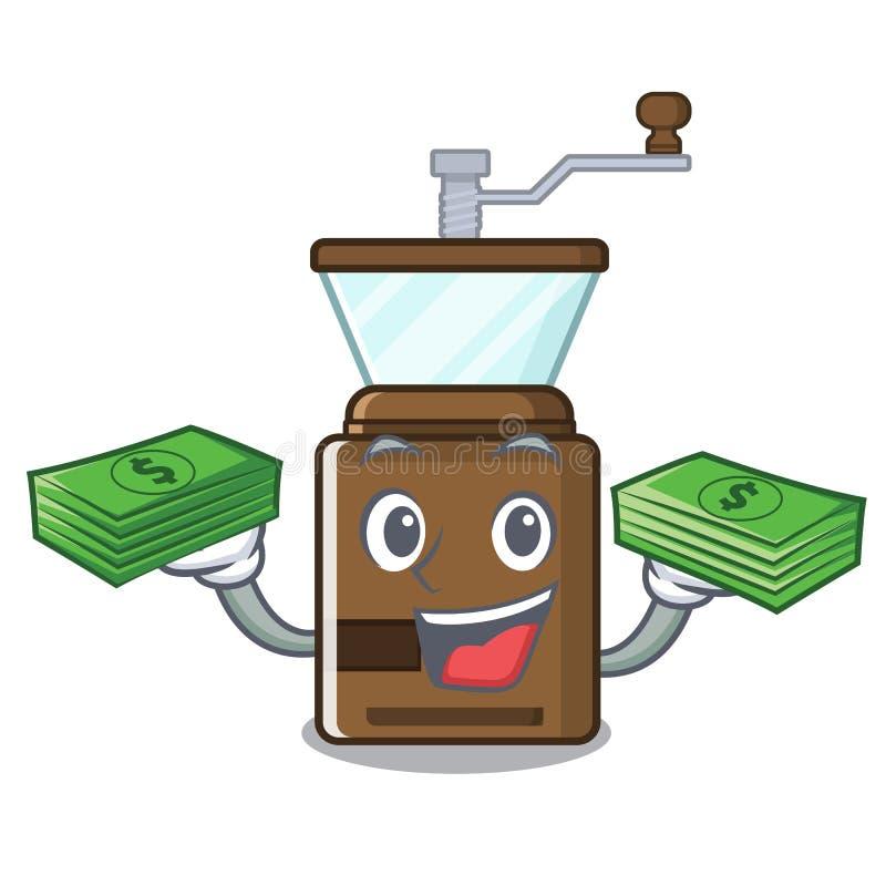 Με το μύλο καφέ κινούμενων σχεδίων τσαντών χρημάτων επάνω από τον ξύλινο πίνακα απεικόνιση αποθεμάτων