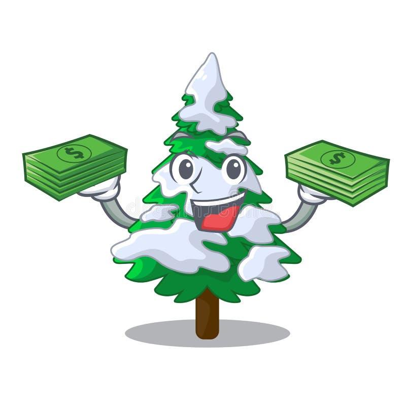 Με το ρεαλιστικό δέντρο έλατου χρημάτων στη μασκότ χιονιού ελεύθερη απεικόνιση δικαιώματος