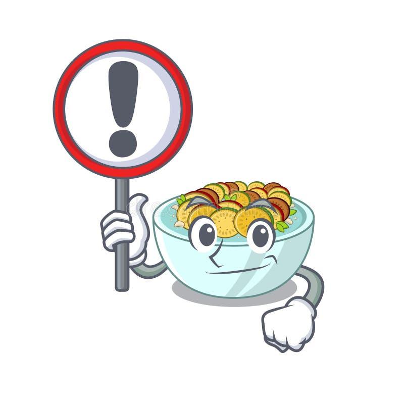 Με το σημάδι ratatouille είναι μαγειρευμένος στο τηγάνι μασκότ ελεύθερη απεικόνιση δικαιώματος