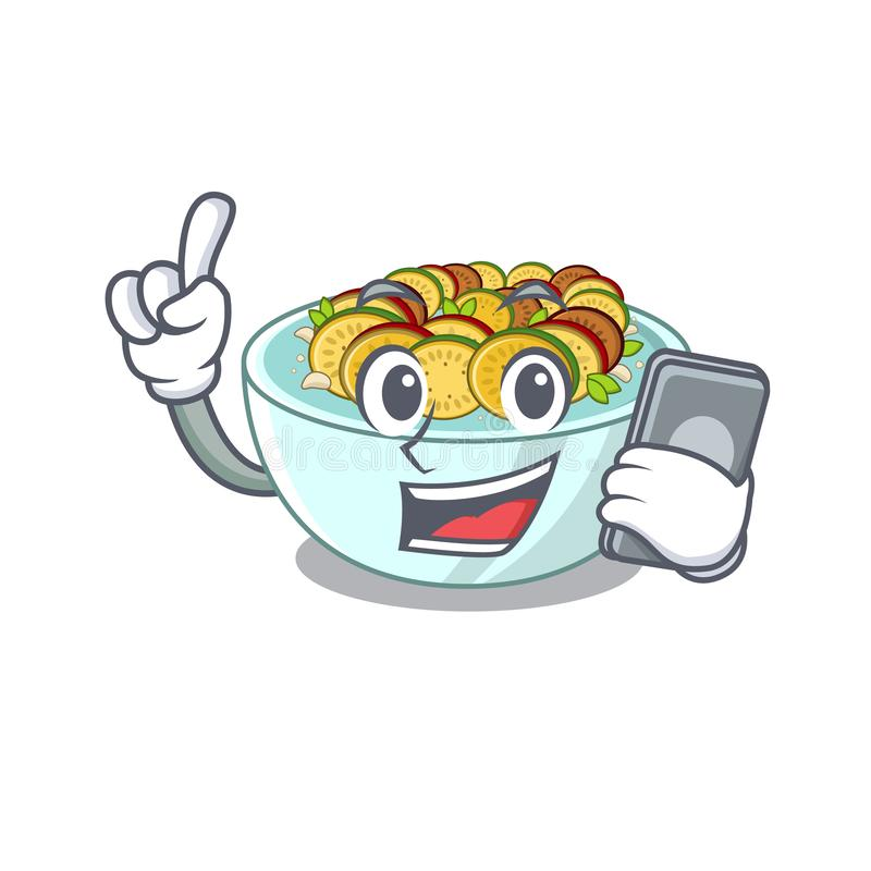 Με το τηλέφωνο ratatouille είναι μαγειρευμένος στο τηγάνι μασκότ απεικόνιση αποθεμάτων