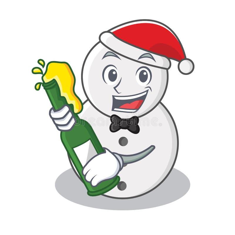 Με το ύφος κινούμενων σχεδίων χαρακτήρα χιονανθρώπων μπύρας διανυσματική απεικόνιση