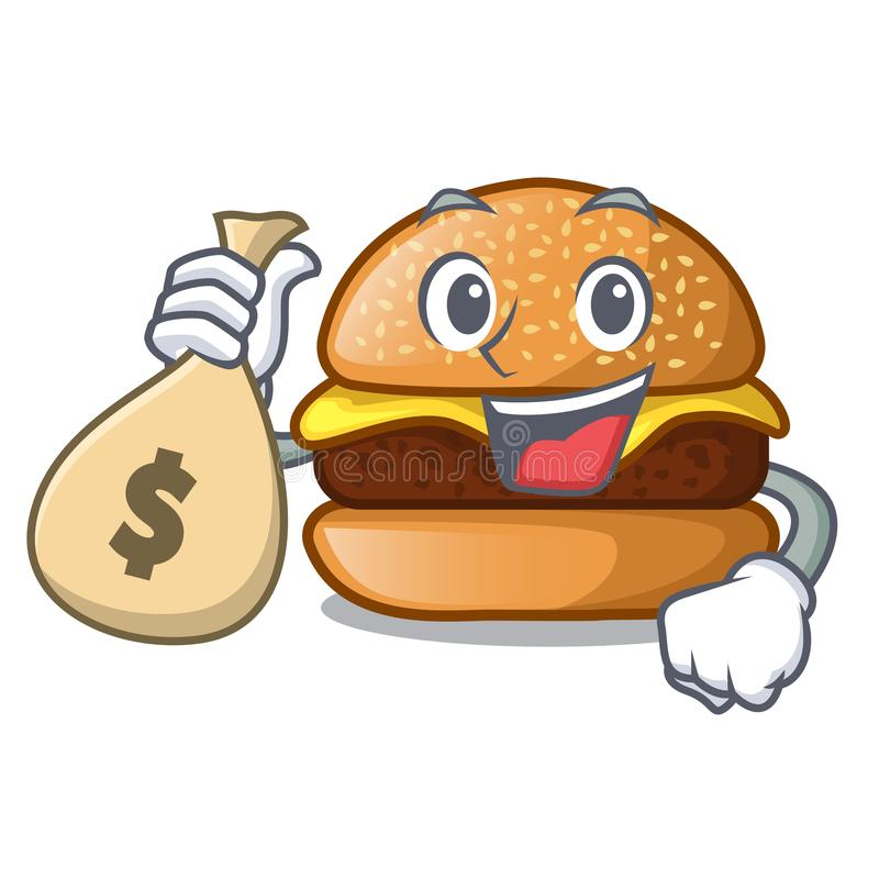 Με burger τυριών τσαντών χρημάτων που απομονώνεται σε μια μασκότ απεικόνιση αποθεμάτων