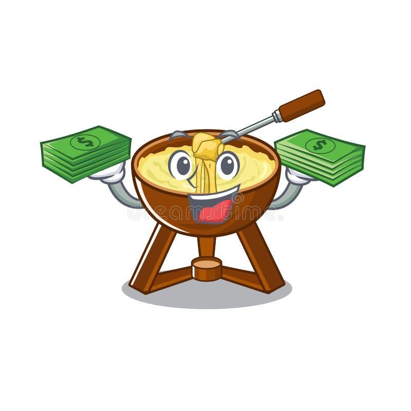 Με fondue τσαντών χρημάτων το τυρί που εξυπηρετείται στο κύπελλο κινούμενων σχεδίων διανυσματική απεικόνιση