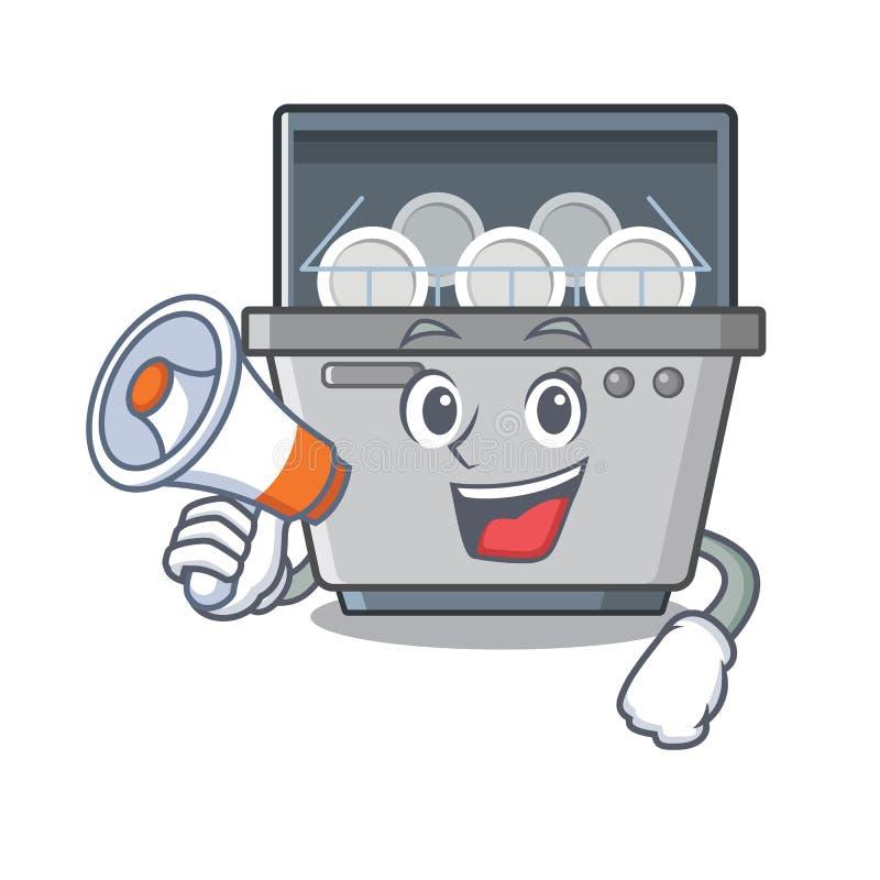 Με megaphone τη μηχανή πλυντηρίων πιάτων μασκότ στην κουζίνα απεικόνιση αποθεμάτων