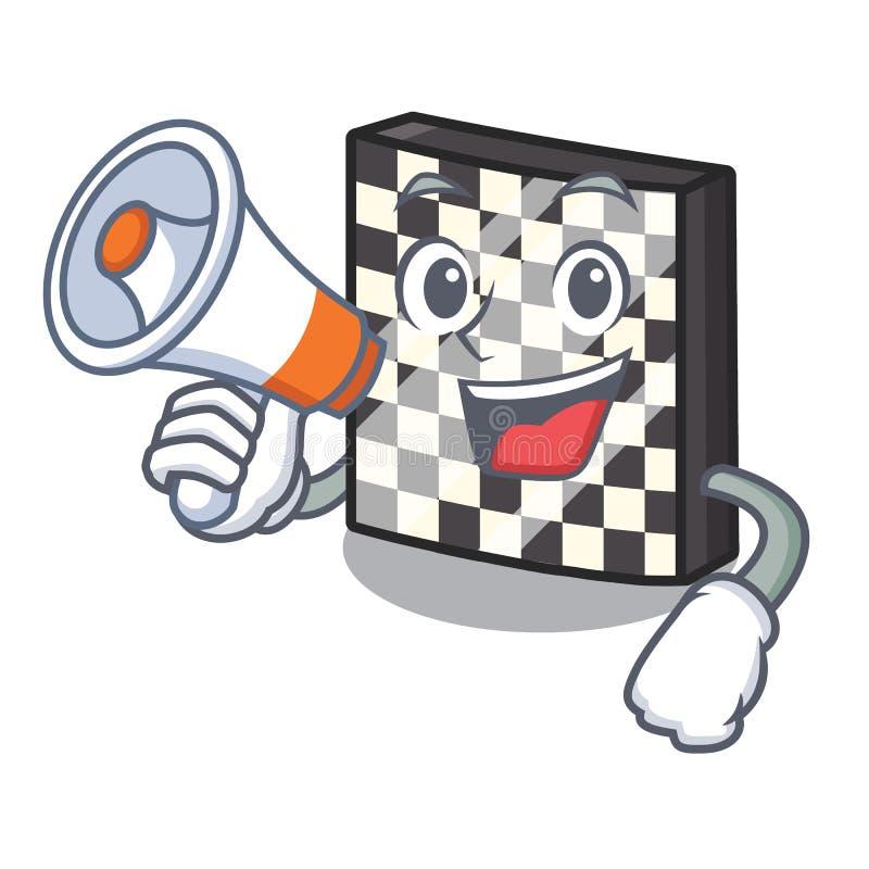 Με megaphone τη σκακιέρα με σε μια μασκότ απεικόνιση αποθεμάτων