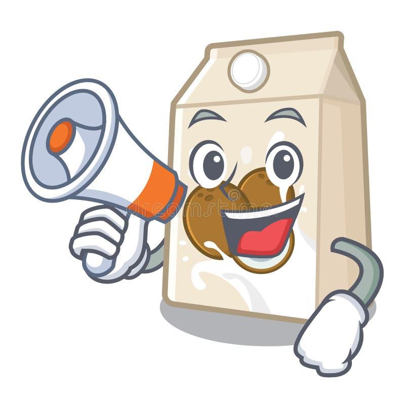 Με megaphone το γάλα καρύδων σε ένα μπουκάλι κινούμενων σχεδίων απεικόνιση αποθεμάτων